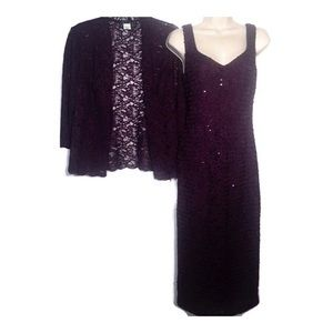 Alex Evenings Purple Dress with Lace Jacket NWT